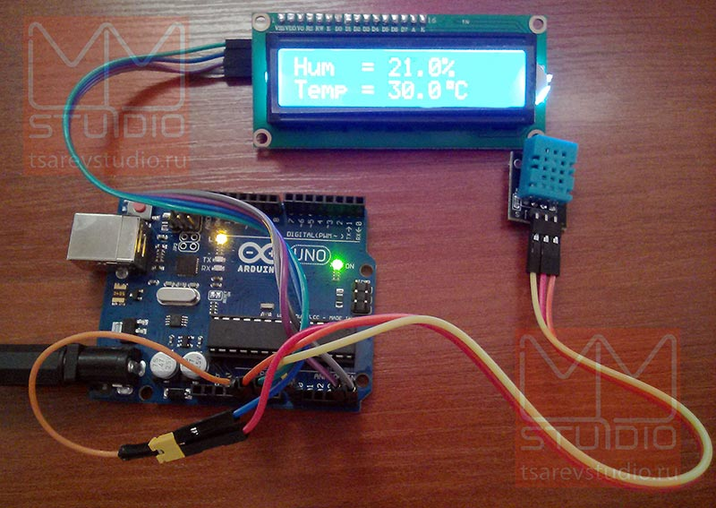 Датчики температуры и влажности подключенные к Arduino