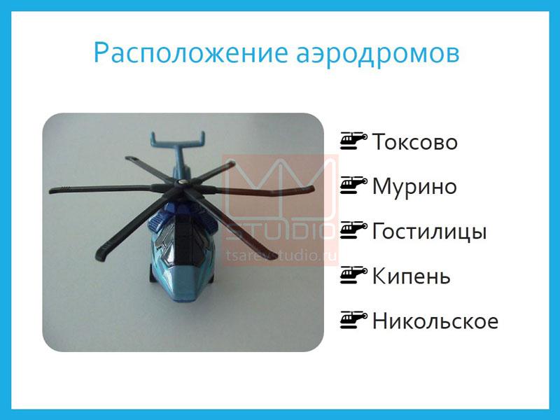 расположение аэродромов. вертолет