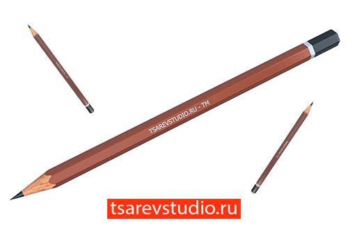 3d модель карандаша в Inventor